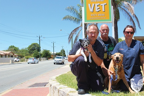 • Steve Baker, Sue Golden, Frankie, and Maggot (their pooches) would be forced into relocating their vet clinic if the proposed 12m is lopped from the property.