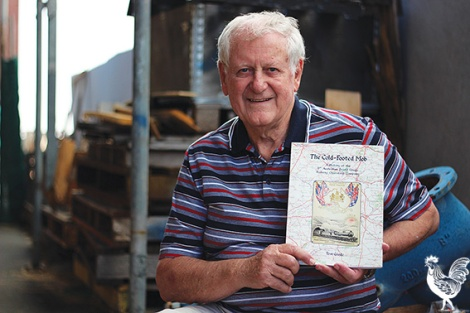 • Tom Goode with his book The Cold-Footed Mob. Photo by Trilokesh Chanmugam