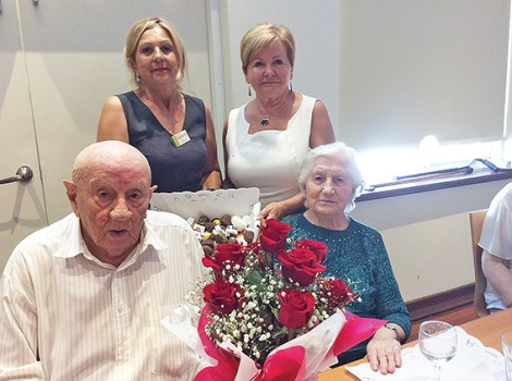 • Jan (100) and Leokadia Chalubinski, Rainbow carer Urszula Minta and manager Danuta Palysz at the birthday celebration.