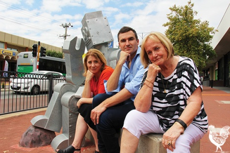 • Labor's shadow minister for planning Rita Saffioti and Perth candidate John Care join North Perth Local chair Ida Smithwick and Vincent's robot statue in pondering what a town square in North Perth might look like. Mr Carey's committed Labor to spending $250,000 in the town centre if elected in March.