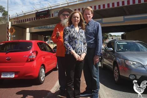 • Party leader Julie Mathieson and candidateds Greg Smith and Russell Goodrick: Keeping the Bayswater underpass is one of the many, many ways the Maylands candidate is setting himself apart from the big parties. Photo by Steve Grant