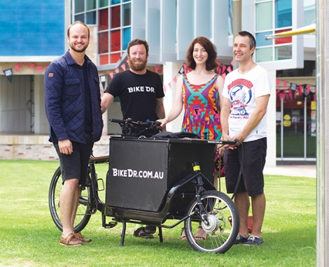 • City of Perth councillor Reece Harley, Bike Dr's Luke Golden, City of Perth councillor Jemma Green and local resident Andrew Main