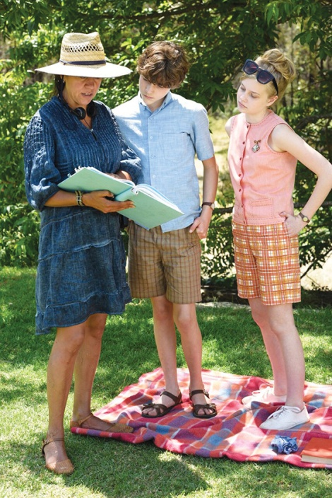 • Director Rachel Perkins with actors Levi Miller and Angourie Rice on the Set of Jasper Jones. Photo supplied